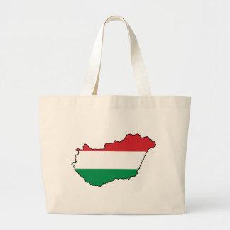 ハンガリーの旗の地図HU ラージトートバッグ