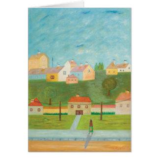 ハンガリーの村場面メッセージカード カード