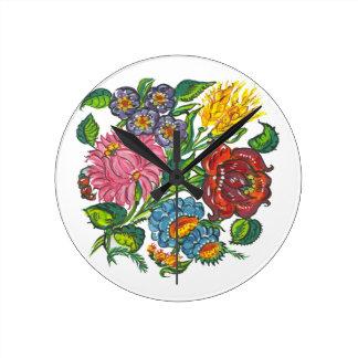 ハンガリーの花柄- kalocsaiのモチーフ ラウンド壁時計