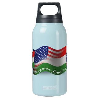 ハンガリーアメリカの振る旗 断熱ウォーターボトル