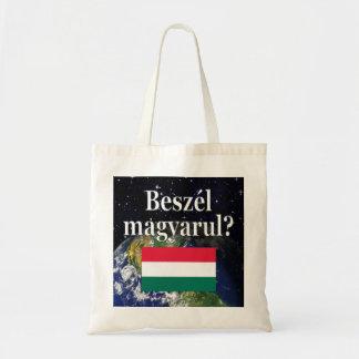 ハンガリー語を話しますか。 ハンガリー語。 旗及び地球 トートバッグ