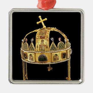ハンガリー、第11第12世紀の神聖な王冠 シルバーカラー正方形オーナメント
