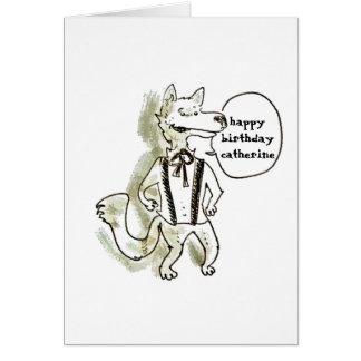 ハンサムなオオカミの漫画のスタイルのイラストレーション カード
