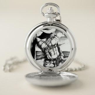 ハンサムなカウボーイが付いている銀製の壊中時計 ポケットウォッチ
