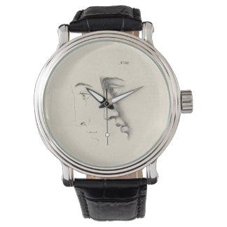 ハンサムな人のプロフィールの旧式でフランスのな版木、銅版、版画 腕時計