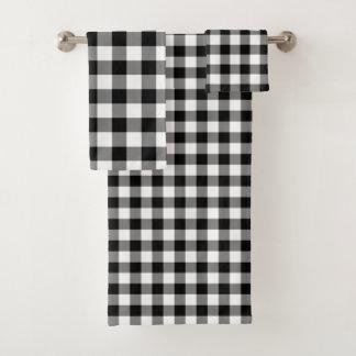 ハンサムな白黒ギンガムパターンタオルセット バスタオルセット