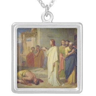ハンセン病患者1864年を直しているイエス・キリスト シルバープレートネックレス