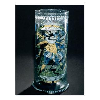 ハンターおよび女性のエナメルを塗られた装飾 ポストカード