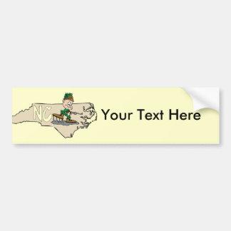 ハンターが付いているノースカロライナNCの漫画の地図 バンパーステッカー