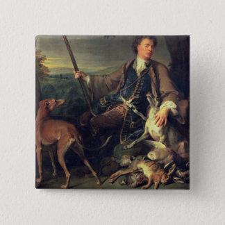 ハンターとして自画像、1699年(キャンバスの油) 5.1CM 正方形バッジ