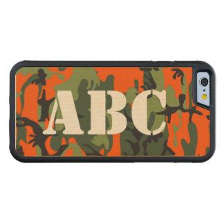 ハンターのオレンジ迷彩柄のモノグラム CarvedメープルiPhone 6バンパーケース