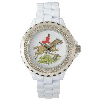 ハンターのジャンパーの馬のキツネ狩りの乗馬者 腕時計