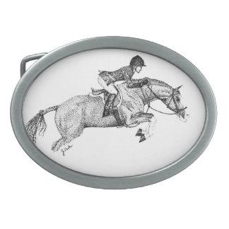 ハンターの子馬の点描 卵形バックル