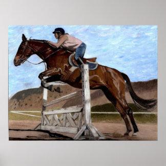 ハンターまたはジャンパーの馬の訓練の芸術のプリント ポスター