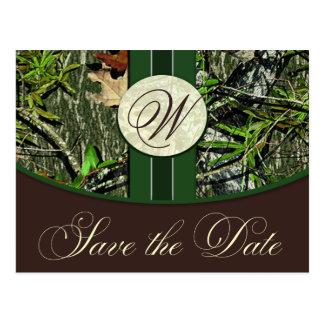 ハンター緑のモノグラムの迷彩柄の結婚式の保存日付 ポストカード
