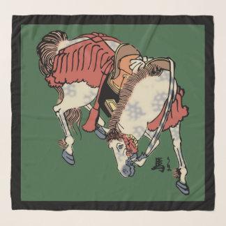 ハンター緑のヴィンテージの日本のな馬 スカーフ