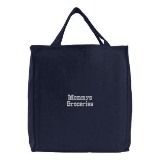 ハンター緑の刺繍されたバッグのMommysの食料雑貨 刺繍入りトートバッグ