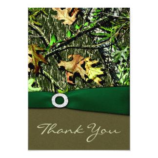 ハンター緑の狩りの迷彩柄の結婚式のサンキューカード カード