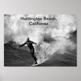 、ハンチングトンビーチ白い、5x7サーファーblkカリフォルニア ポスター