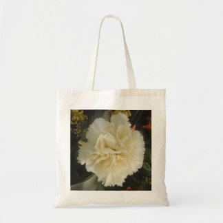 ハンドバッグの白いカーネーションの美しい トートバッグ