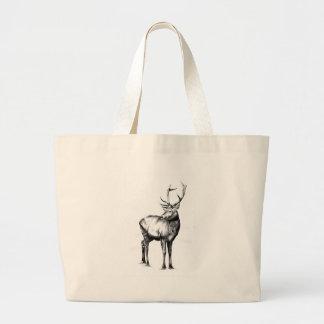 ハンドメイドの自然を引く旧式な雄鹿の芸術 ラージトートバッグ