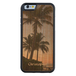 ハンドメイド熱帯日没のモルディブのヤシの木 CarvedチェリーiPhone 6バンパーケース