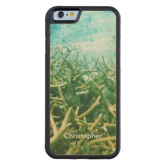 ハンドメイド熱帯礁湖の海の珊瑚礁の魚 CarvedメープルiPhone 6バンパーケース