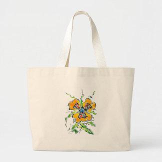 ハンドメイド花のスケッチのスケッチの芸術 ラージトートバッグ
