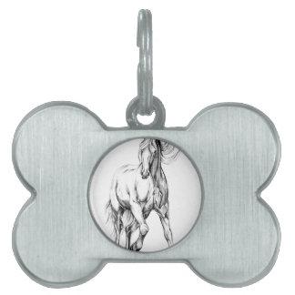 ハンドメイド馬のスケッチのスケッチの芸術 ペットネームタグ