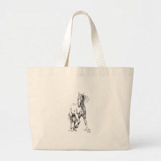 ハンドメイド馬のスケッチのスケッチの芸術 ラージトートバッグ