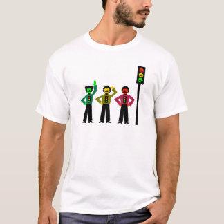 ハンドルバーの髭1を搭載する不機嫌な信号のトリオ Tシャツ