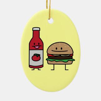 ハンバーガーおよびケチャップのファースト・フードの相棒のパンのパティー セラミックオーナメント