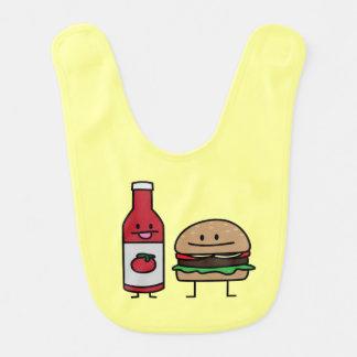 ハンバーガーおよびケチャップのファースト・フードの相棒のパンのパティー ベビービブ