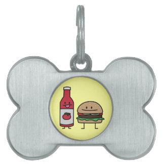 ハンバーガーおよびケチャップのファースト・フードの相棒のパンのパティー ペットネームタグ