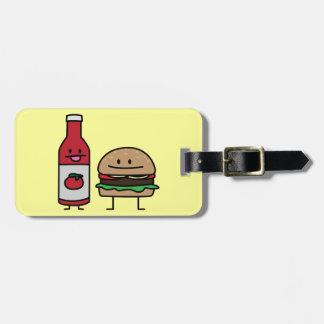ハンバーガーおよびケチャップのファースト・フードの相棒のパンのパティー ラゲッジタグ