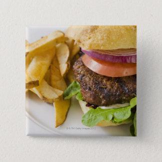 ハンバーガーおよびフライドポテト 5.1CM 正方形バッジ