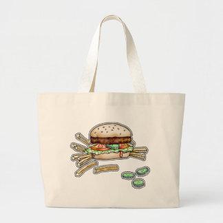ハンバーガーおよび揚げ物のファッションのトート-買い物袋 ラージトートバッグ