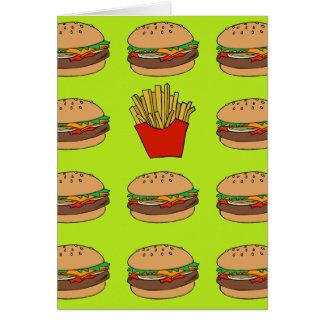 ハンバーガーおよび揚げ物の挨拶状 グリーティングカード