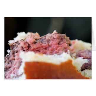 ハンバーガーのまれな肉のクローズアップ カード