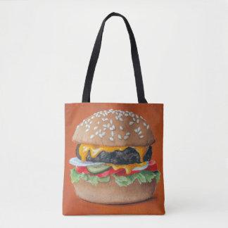 ハンバーガーのイラストレーションのバッグ トートバッグ