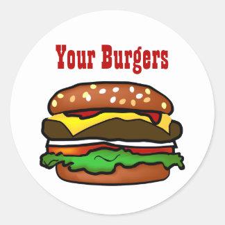 ハンバーガーのステッカー ラウンドシール
