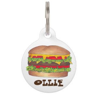 ハンバーガーのファースト・フードのハンバーガーのチーズバーガーのドッグタッグ ペット ネームタグ