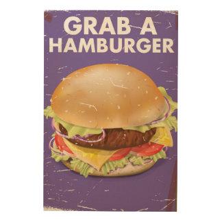 ハンバーガーのヴィンテージの食糧ポスターをつかんで下さい ウッドウォールアート