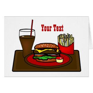 ハンバーガーの大皿の挨拶状 カード