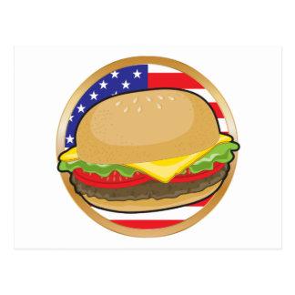 ハンバーガーの米国旗 ポストカード