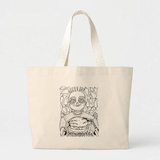 ハンバーガーの線画のデザイン ラージトートバッグ