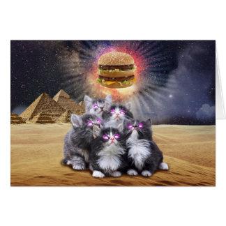 ハンバーガーを捜している宇宙猫 グリーティングカード
