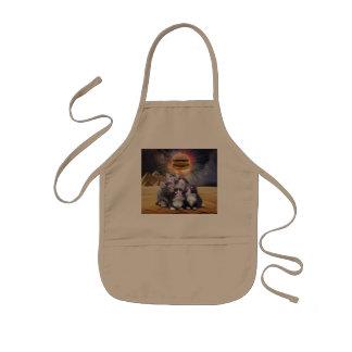 ハンバーガーを捜している宇宙猫 子供用エプロン