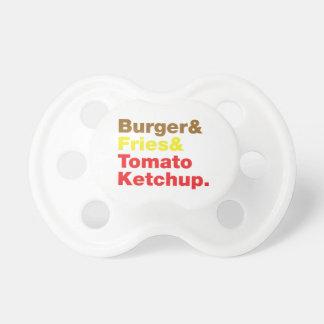 ハンバーガー及び揚げ物及びトマト・ケチャップ おしゃぶり