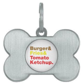 ハンバーガー及び揚げ物及びトマト・ケチャップ ペットネームタグ